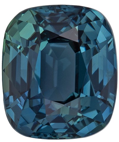 Unique Blue Green Sapphire Genuine Gemstone, 1.4 carats, Cushion Cut, 6.4 x 5.4  mm , Great Low Price