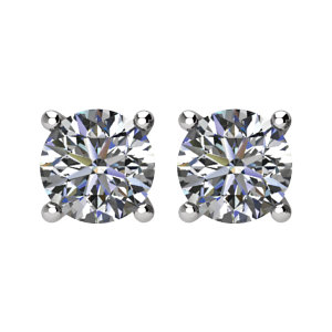 Easy Gift in 14 Karat White Gold 0.25 Carat Total Weight Diamond FriCaration Post Stud Earring