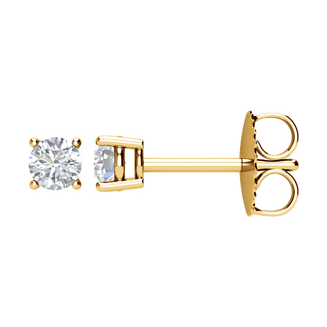 Must See 14 KT Yellow Gold 0.25 Carat TW Diamond FriCaration Post Stud Earring