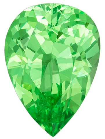 Beautiful Green Tsavorite Garnet Genuine Gem, 1.4 carats, Pear Cut, 8.6 x 6.2  mm , Super Low Price