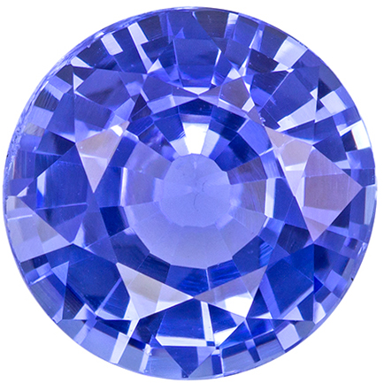 1.41 carats Blue Sapphire Loose Gemstone in Round Cut, Cornflower Blue, 6.8 mm