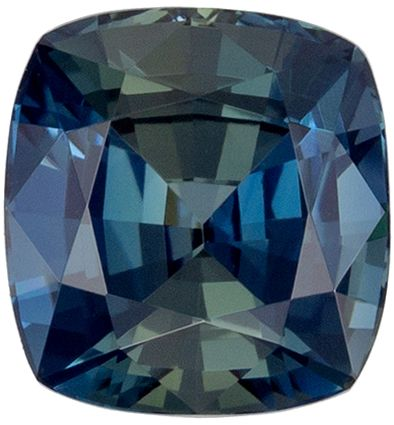 Top Quality No Treatment Cushion Shape Blue Green Sapphire Gemstone, 1.42 carats, Medium Blue Green Color, 6.13 x 5.78 x 4.27 mm, GIA Certified