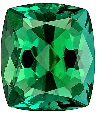 1.42 carats Green Tourmaline Loose Gemstone in Cushion Cut, Vivid Green Teal, 7.2 x 6.3 mm