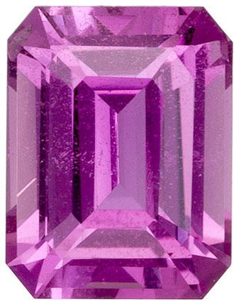 1.42 carats Pink Sapphire Loose Gemstone in Emerald Cut, Rich Pink, 6.9 x 5.3 mm
