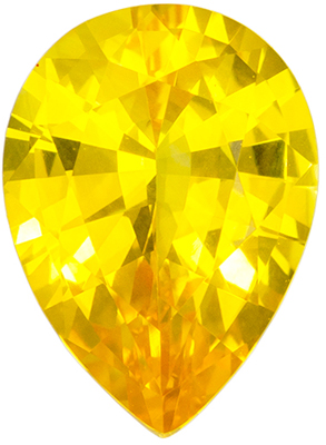 1.42 carats Yellow Sapphire Loose Gemstone in Pear Cut, Intense Pure Yellow, 8.5 x 6.2 mm