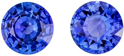 Beautiful Blue Sapphire Well Matched Gemstone Pair Round Cut, Medium Rich Blue, 5.5 mm, 1.43 carats