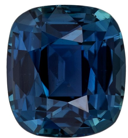 Unique Blue Green Sapphire Genuine Stone, 1.44 carats, Cushion Cut, 6.4 x 5.8  mm , Super Low Price