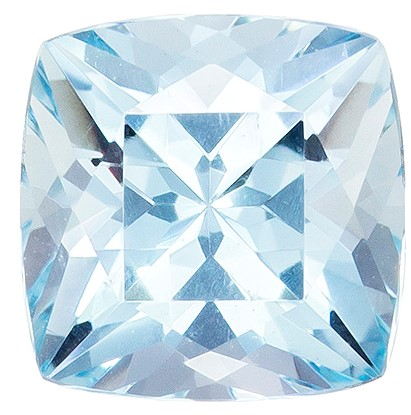 1.45 carat Medium Blue Aquamarine Gemstone in Cushion Cut, Super Bright Gem in 7.0mm