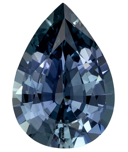 Popular Color in 1.45 Carat Blue Green Sapphire Pear Cut Gemstone, Steely Blue Green Color in 9.0 x 6.3mm Size