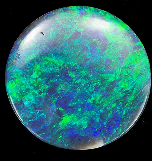 1.45 carats Black Opal Loose Gemstone in Round Cut, Vivid Blues & Greens on Black, 10 mm