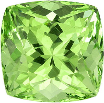 1.45 carats Green Garnet Loose Gemstone Cushion Cut, Vivid Mint Green, 5.9 x 5.8 mm