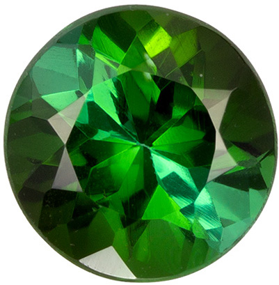 1.45 carats Green Tourmaline Loose Gemstone Round Cut, Rich Green, 7.2 mm