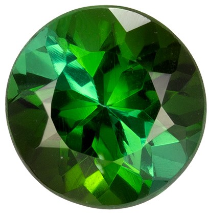 1.45 carats Green Tourmaline Loose Gemstone in Round Cut, Rich Green, 7.2 mm