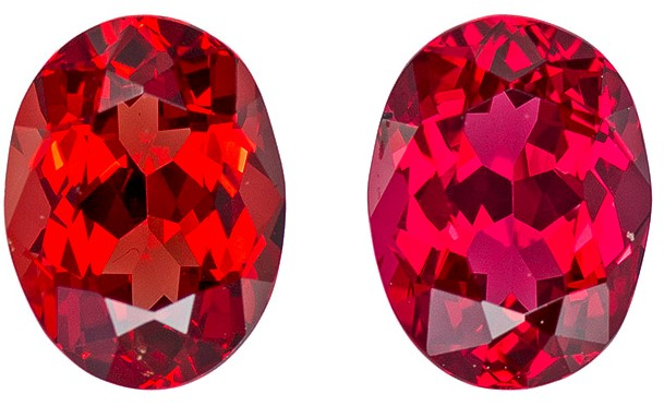 1.45 carats Red Spinel Well Matched Gem Pair in Oval Cut, Rich Red, 6.2 x 4.7 mm
