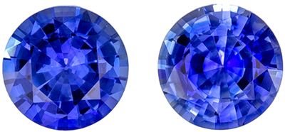 Very Bright Blue Sapphire Well Matched Gemstone Pair 1.46 carats, Round Cut, Vivid Medium Blue, 5.5 mm