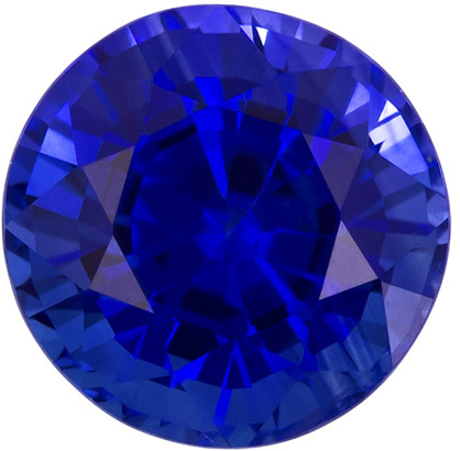 1.46 carats Blue Sapphire Loose Gemstone in Round Cut, Velvety Blue, 6.2 mm