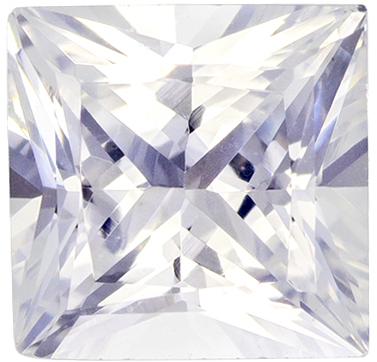 1.46 carats White Sapphire Loose Gemstone in Princess Cut, Very Colorless White, 6.4 x 6.3 mm