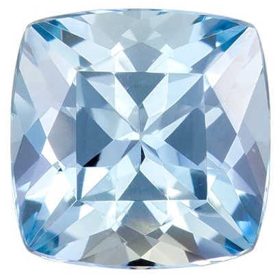 Natural Aquamarine Gemstone 1.47 carats, Cushion Cut, 7   mm