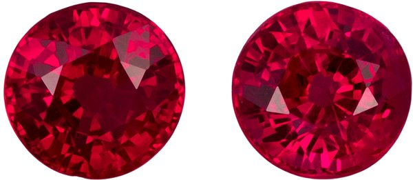 1.47 carats Pair of Ruby in Round Cut, Intense Pigeon's Blood in 4.9mm Rounds