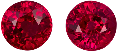 1.47 carats Ruby 2 Piece Matched Pair in Round Cut, Pigeon's Blood Red, 4.9 mm