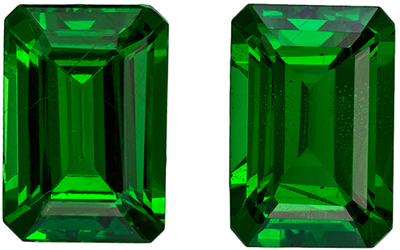 Hard to Find Tsavorite Matched Pair, 6.2 x 4.2mm, Grass Green, Emerald Cut, 1.47 carats