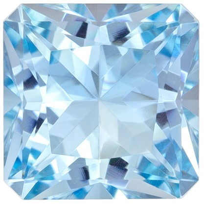 Terrific Buy on Blue Aquamarine Genuine Gemstone, 1.48 carats, Radiant Cut, 6.9 x 6.9  mm , Super Fine Stone