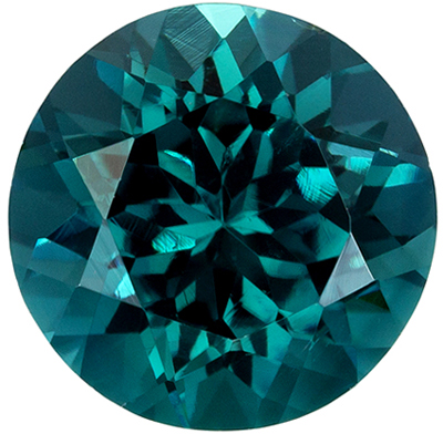 Bright & Lively Tourmaline Quality Gem, 7.1 mm, Teal Blue Green, Round Cut, 1.48 carats
