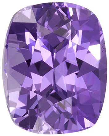 1.48 carats Purple Sapphire Loose Gemstone in Cushion Cut, Lavender Purple, 7 x 5.6 mm