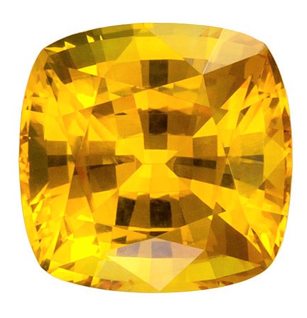 Beautiful Golden Yellow Sapphire Gem in 1.48 Carats, Yellow Sapphire Cushion Cut in 6.2mm Size