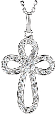 1/5 Carat Diamond Outlined Cross Pendant With Rounded Look in Sterling Silver for SALE - .9-1.4mm stones - Free Chain Included