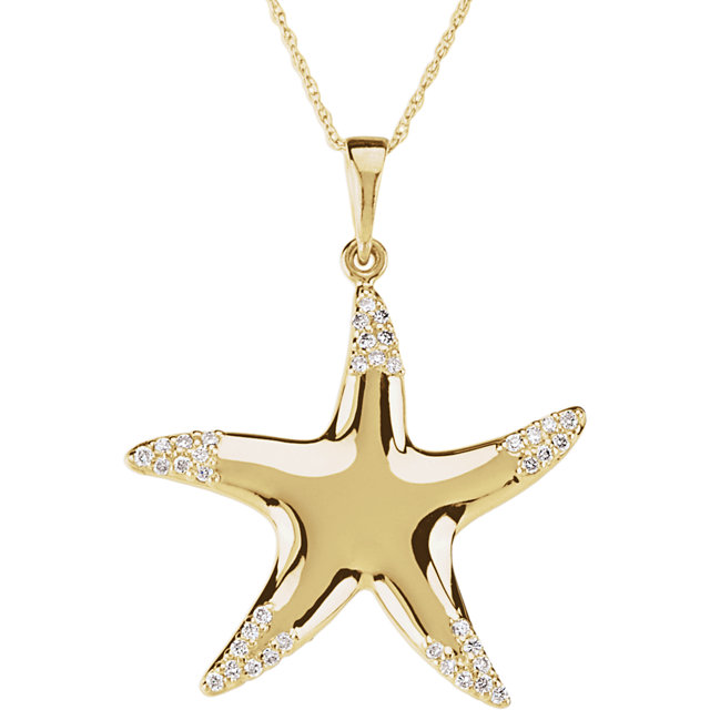 Great Buy in 14 Karat Yellow Gold 0.20 Carat Total Weight Diamond Starfish 18