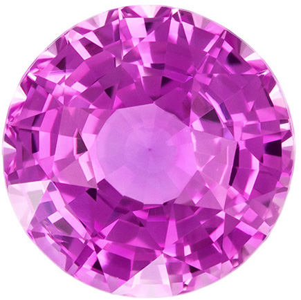 1.5 carats Pink Sapphire Loose Gemstone in Round Cut, Vivid Pink, 6.6 mm