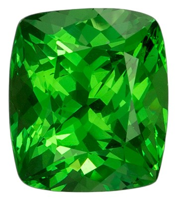Beautiful Green Tsavorite Garnet 1.5 carats, Cushion shape gemstone, 6.9 x 6  mm