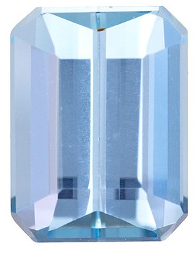 1.51 carat Medium - Fine Blue Aqua Emerald Cut in Calibrated Size, 8 x 6mm