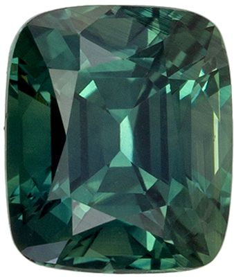 Highly Requested Sapphire Genuine Gem, 1.52 carats, Teal Blue Green, Cushion Cut, 6.7 x 5.7mm