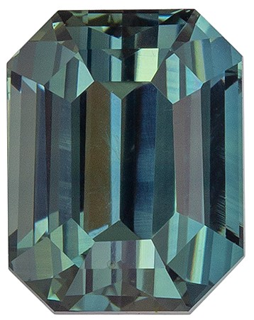Must See Blue Green Sapphire Genuine Gemstone, 1.52 carats, Emerald Cut, 6.6 x 5.13 x 4.28 mm mm , Great Low Price