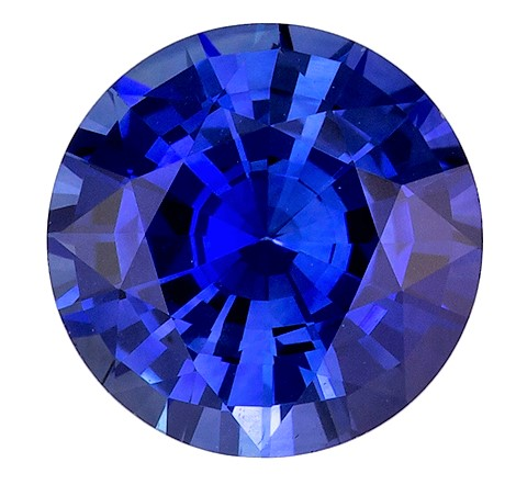 Must See Blue Sapphire Gemstone 1.52 carats, Round Cut, 7   mm