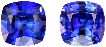 Genuine 1.53 carat Blue Sapphire Gemstones in Matched Pair Cushion Cut 5.5 mm
