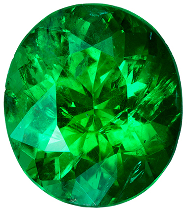 1.53 carats Fiery Brazilian Emerald Gem, Stunning Vivid Rich Green Color in 8.5 x 7.4 mm Oval