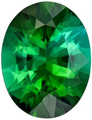 Bright & Lively Green Tourmaline Genuine Loose Gemstone in Oval Cut, 1.53 carats, Vivid Green with Teal, 9.1 x 7 mm