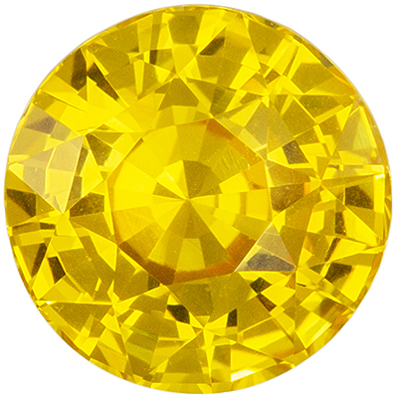 High Color Sapphire Loose Gem, 6.6 mm, Rich Pure Yellow, Round Cut, 1.53 carats