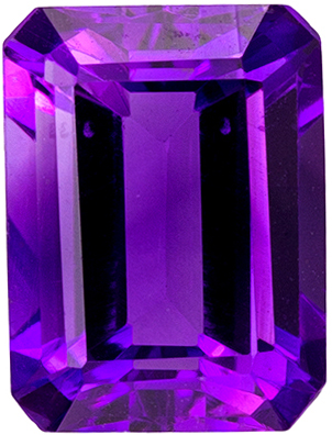 1.54 carats Amethyst Loose Gemstone Emerald Cut, Fine Purple, 8 x 6 mm