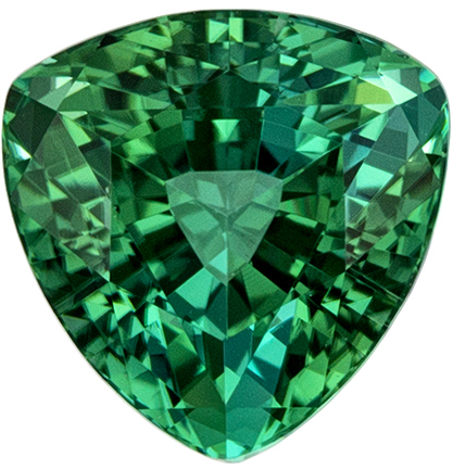Classic Blue Green Tourmaline 1.55 carats, Trillion shape gemstone, 6.9  mm