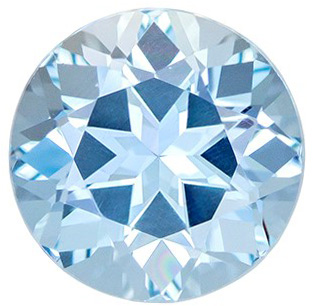 Natural 1.56 carat Blue Aquamarine Gemstone in Round Cut 7.5 mm