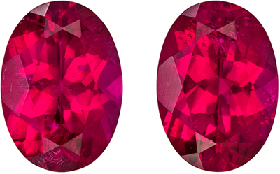 Beautiful Well Matched Oval Cut Rubellite Tourmaline Gem, Pair7 x 5 mm, Rich Fuschia Red Color, 1.56 carats