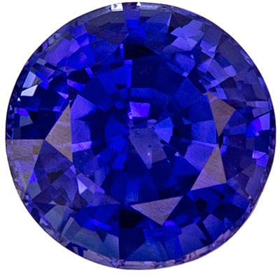 Must See 1.58 carats Blue Sapphire Round Genuine Gemstone, 6.56 x 6.64 x 4.48 mm