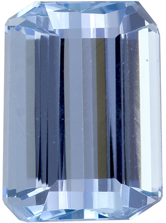 1.58 carats Aquamarine Loose Gemstone Emerald Cut, Sky Blue, 8 x 5.8 mm