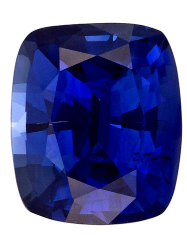 Fine Natural 7.2 x 6.1 mm Sapphire Loose Genuine Gemstone in Cushion Cut, Rich Blue, 1.58 carats