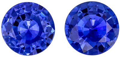 Highly Requested Sapphire Matched Pair, 1.59 carats, Vivid Rich Blue, Round Cut, 5.9 mm