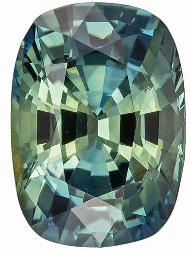 Low Price Blue Green Sapphire Loose Gem, 1.6 carats, Cushion Cut, 7.9 x 5.6  mm , High Quality - Low Cost Gem